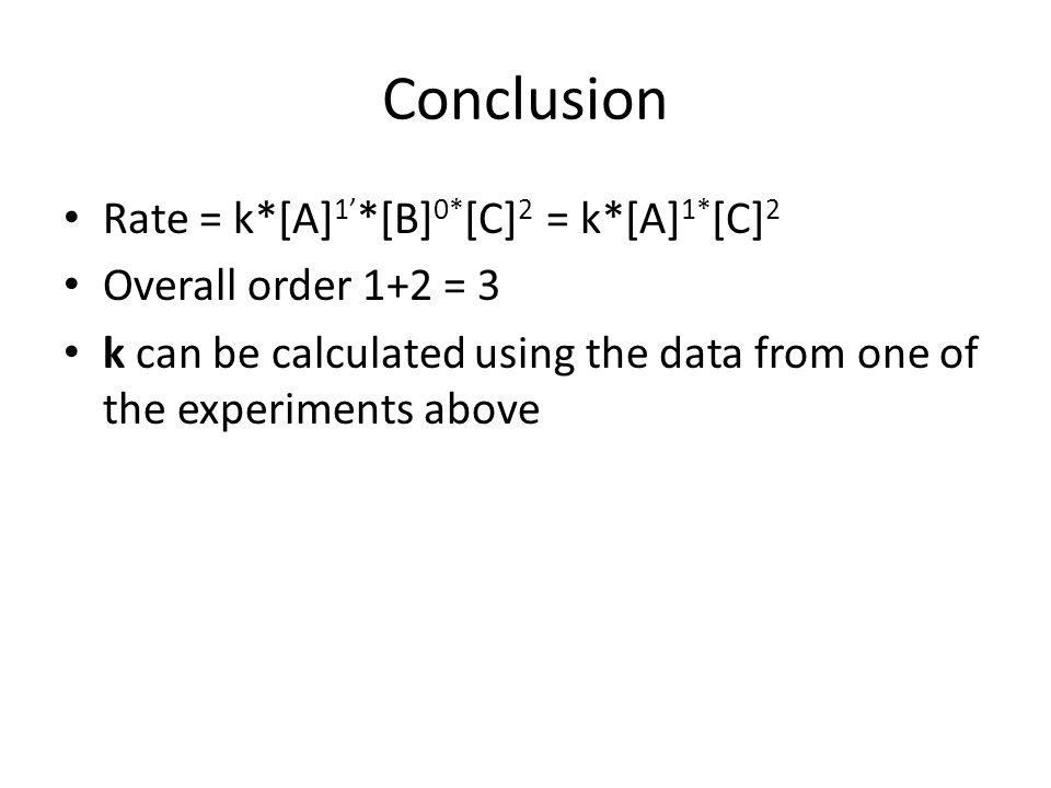 Conclusion Rate = k*[A]1'*[B]0*[C]2 = k*[A]1*[C]2